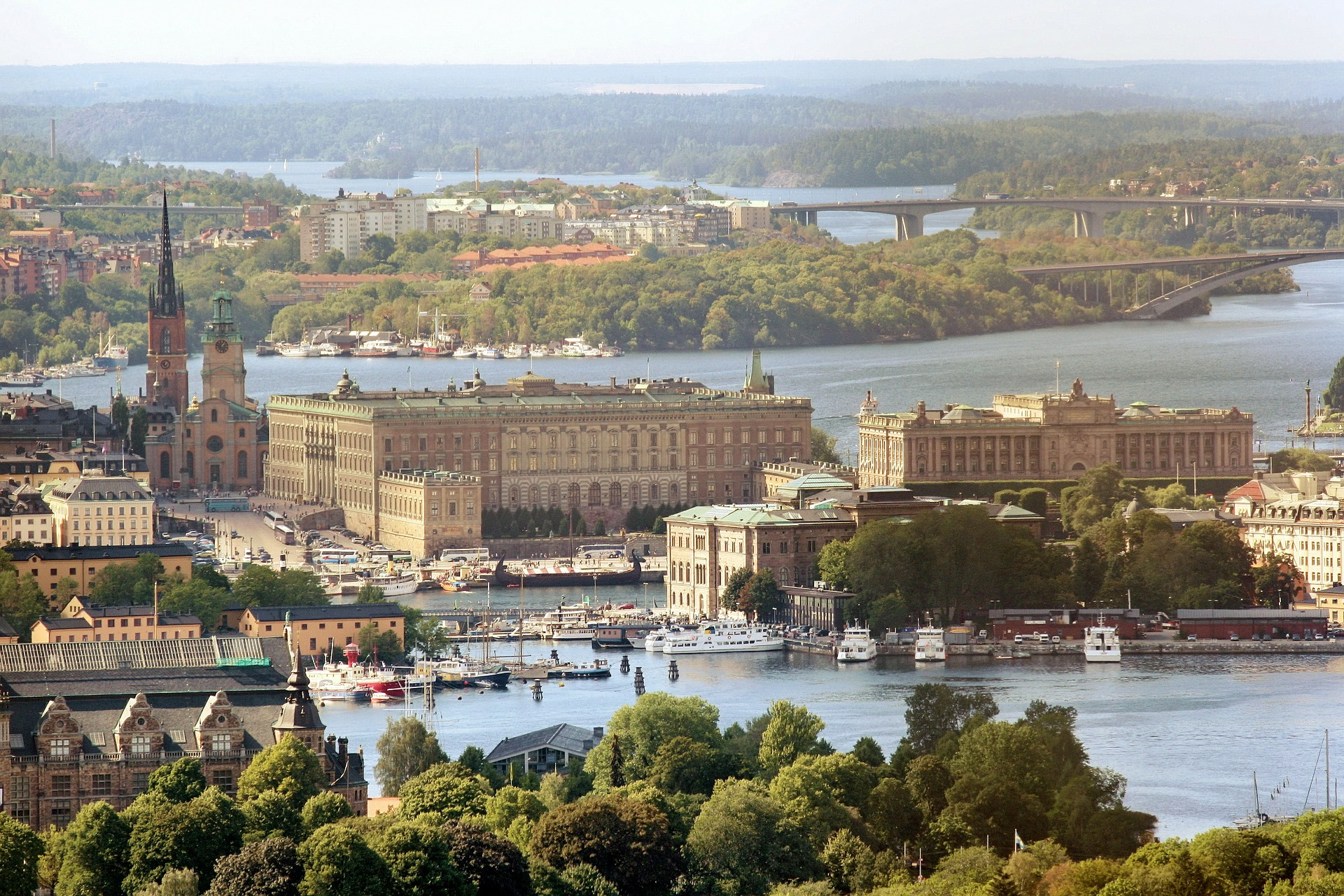 Aerial view over the Royal Castle in Stockholm.